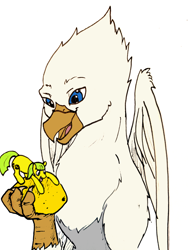 Size: 1234x1645 | Tagged: safe, artist:cannibalisticfawn, artist:tinibirb, color edit, edit, oc, oc only, oc:der, oc:lemon drop, earth pony, griffon, colored, duo, food, lemon, micro, sketch