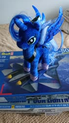 Size: 1152x2048 | Tagged: safe, princess luna, alicorn, pony, female, hoof shoes, irl, japanese, mare, messy mane, peytral, photo, plane, plushie, solo, text, toy