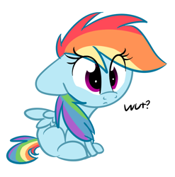 Size: 712x721 | Tagged: safe, artist:littleblackraencloud, rainbow dash, pegasus, pony, chibi, confused, cute, dashabetes, floppy ears, missing cutie mark, reaction image, simple background, sitting, solo, wat, white background