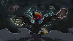 Size: 2560x1440 | Tagged: safe, artist:skanim-sdw, oc, oc:darky wings, pegasus, glowing eyes, lightning, night, rock, wings