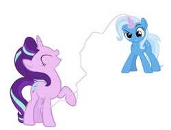 Size: 1024x777 | Tagged: safe, artist:diana173076, starlight glimmer, trixie, pony, unicorn, magic duel, adorable distress, comedy, cute, cuteness overload, daaaaaaaaaaaw, diatrixes, eyes closed, female, glimmerbetes, great and powerful, laser beam, laughing, lesbian, magic, mare, mischievous grin, one hoof raised, raised eyebrow, reference, shipping, smiling, smirk, startrix, tickle torture, tickling