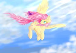 Size: 4092x2893 | Tagged: safe, artist:azzyalder, fluttershy, butterfly, pegasus, pony, female, flying, mare, sky, solo, spread wings, wings