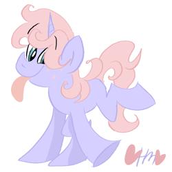 Size: 800x800 | Tagged: safe, artist:mirabuncupcakes15, oc, oc only, unnamed oc, pony, unicorn, blank flank, male, raised hoof, raised leg, simple background, solo, stallion, tongue out, white background