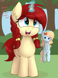 Size: 2500x3342 | Tagged: safe, artist:an-tonio, oc, oc:golden brooch, pony, unicorn, braid, cute, daaaaaaaaaaaw, doll, female, filly, magic, ocbetes, solo, telekinesis, toy, tree, twin braids, weapons-grade cute, wholesome, younger
