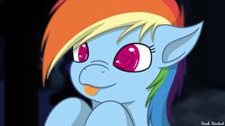 Size: 1280x720 | Tagged: safe, artist:rainbowdashvshalo, rainbow dash, pony, :p, bust, cute, dashabetes, female, heart eyes, mare, no pupils, nose wrinkle, portrait, solo, tongue out, wingding eyes