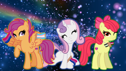 Size: 1280x720 | Tagged: safe, artist:doodleponyxx, artist:warriorkitty250, apple bloom, scootaloo, sweetie belle, earth pony, pegasus, pony, unicorn, agender, agender pride flag, apple bloom's bow, base used, bisexual pride flag, bow, cute, female, hair bow, headcanon, hoof hold, jewelry, lesbian pride flag, mare, necklace, older, older apple bloom, older cmc, older scootaloo, older sweetie belle, pride, pride flag, raised hoof, sexuality headcanon, sitting, trans girl, transgender, transgender pride flag, wing hold