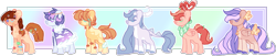 Size: 1915x387 | Tagged: safe, artist:m-agicalpeach, artist:wnho, oc, oc only, oc:golden wings, unnamed oc, dracony, earth pony, hybrid, pegasus, pony, unicorn, bandaid, base used, cape, clothes, eyes closed, female, interspecies offspring, jewelry, mare, necklace, next generation, offspring, parent:applejack, parent:big macintosh, parent:caramel, parent:cheese sandwich, parent:flash sentry, parent:fluttershy, parent:pinkie pie, parent:rainbow dash, parent:rarity, parent:soarin', parent:spike, parent:twilight sparkle, parents:carajack, parents:cheesepie, parents:flashlight, parents:fluttermac, parents:soarindash, parents:sparity, scarf, tail feathers