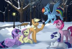 Size: 2900x2000 | Tagged: safe, artist:villjulie, applejack, fluttershy, pinkie pie, rainbow dash, rarity, twilight sparkle, alicorn, earth pony, pegasus, pony, unicorn, bench, coffee cup, cup, lamppost, mane six, park, prone, signature, snow, tree, twilight sparkle (alicorn), winter
