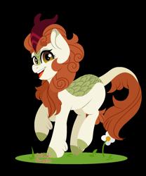 Size: 1300x1560 | Tagged: safe, artist:cottonsweets, autumn blaze, kirin, awwtumn blaze, cute, fanart, flower, grass, lineless, simple background, solo, transparent background