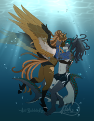 Size: 2775x3558 | Tagged: safe, artist:askbubblelee, oc, oc:island breeze, oc:rogue wave, anthro, hybrid, original species, pegasus, shark, shark pony, unguligrade anthro, anthro oc, belly button, bikini, clothes, couple, digital art, embrace, female, looking at each other, male, mare, midriff, oc x oc, shipping, signature, smiling, stallion, straight, swimming trunks, swimsuit, tiger shark pony, underwater
