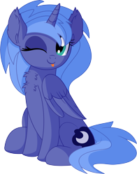 Size: 5844x7454 | Tagged: safe, artist:cyanlightning, princess luna, alicorn, pony, .svg available, :p, absurd resolution, blinking, cute, ear fluff, female, lunabetes, mare, one eye closed, open mouth, s1 luna, simple background, sitting, smiling, solo, tongue out, transparent background, vector