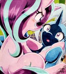 Size: 1822x2048 | Tagged: safe, artist:025aki, starlight glimmer, trixie, pony, unicorn, blushing, female, lesbian, shadow, shipping, smiling, startrix, surprised, traditional art