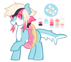 Size: 811x712 | Tagged: safe, artist:mvnchies, oc, oc only, original species, shark, shark pony, eye clipping through hair, floaty, open mouth, reference sheet, simple background, smiling, solo, transparent background