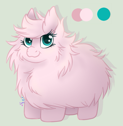 Size: 649x665 | Tagged: safe, artist:brendalobinha, oc, oc only, oc:fluffle puff, earth pony, pony, cheek fluff, chest fluff, cute, ear fluff, flufflebetes, fluffy, gray background, looking at you, ocbetes, reference sheet, simple background