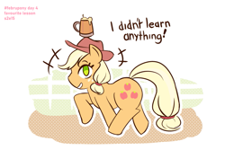 Size: 1181x787 | Tagged: safe, artist:burgeroise, applejack, earth pony, pony, the super speedy cider squeezy 6000, cider, cowboy hat, fence, hat, holding head, i didn't learn anything