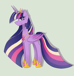 Size: 1200x1228 | Tagged: safe, artist:brendalobinha, twilight sparkle, alicorn, pony, colored wings, crown, ear fluff, female, gradient wings, gray background, jewelry, looking at you, mare, rainbow power, regalia, simple background, twilight sparkle (alicorn), wings