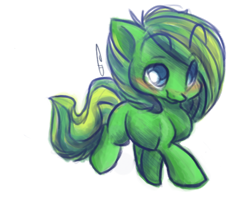 Size: 600x485 | Tagged: safe, artist:dollfins, oc, oc only, oc:lucky clover, earth pony, pony, blushing, eyebrows visible through hair, female, mare, simple background, smiling, solo, transparent background