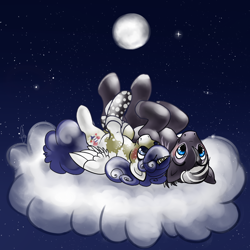 Size: 1000x1000 | Tagged: safe, artist:dollfins, oc, oc only, oc:rain chaser, oc:sweet dreams, alicorn, pony, alicorn oc, cloud, colored hooves, duo, female, full moon, male, mare, moon, night, on a cloud, on back, stallion, stars
