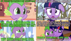 Size: 1222x711 | Tagged: safe, edit, edited screencap, editor:undeadponysoldier, screencap, princess flurry heart, sunburst, twilight sparkle, alicorn, dragon, pony, unicorn, lesson zero, owl's well that ends well, the crystalling, winter wrap up, anxiety, brother and sister, caption, comic, crying, cute, female, floppy ears, golden oaks library, hug, image macro, implied death, male, mare, meme, scared, screencap comic, siblings, snow, spikelove, stallion, text, true story, twilight sparkle (alicorn), unicorn twilight, worried