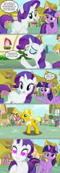 Size: 1024x2957 | Tagged: safe, artist:silverbuller, ragamuffin (equestria girls), rarity, twilight sparkle, alicorn, pony, unicorn, comic, equestria girls ponified, female, heart eyes, male, ponified, ponyville, rarimuffin, shipping, straight, twilight sparkle (alicorn), wingding eyes