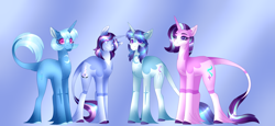 Size: 5107x2340 | Tagged: safe, artist:clay-bae, starlight glimmer, trixie, oc, oc:moonlight, oc:saturn glow, pony, alternate design, female, lesbian, magical lesbian spawn, male, mare, offspring, parent:starlight glimmer, parent:trixie, parents:startrix, shipping, stallion, startrix, unshorn fetlocks