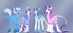 Size: 5107x2340 | Tagged: safe, alternate version, artist:clay-bae, starlight glimmer, trixie, oc, oc:moonlight, oc:saturn glow, pony, alternate design, female, lesbian, magical lesbian spawn, male, mare, offspring, parent:starlight glimmer, parent:trixie, parents:startrix, shipping, stallion, startrix, unshorn fetlocks