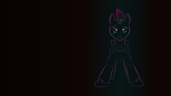 Size: 1366x769   Tagged: safe, artist:quint-t-w, tempest shadow, pony, unicorn, armor, broken horn, eye scar, gradient background, horn, looking at you, minimalist, modern art, old art, scar, solo, sparking horn