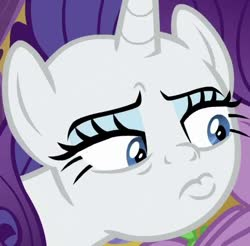 Size: 452x444   Tagged: safe, screencap, rarity, spike, dragon, pony, unicorn, dragon dropped, spoiler:s09e19, cropped, face, lidded eyes, pouty lips, solo focus