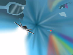 Size: 4000x3000 | Tagged: safe, artist:mricantdraw, rainbow dash, human, competition, jet, jet fighter, pilot, race, solo