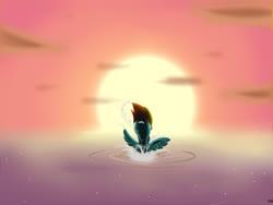 Size: 900x675 | Tagged: safe, artist:mricantdraw, rainbow dash, ocean, solo, sun, sunset, swimming