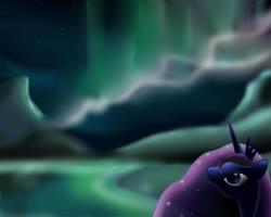 Size: 3500x2800 | Tagged: safe, artist:mricantdraw, princess luna, aurora borealis, solo