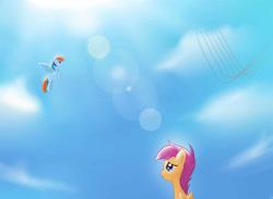 Size: 3000x2200 | Tagged: safe, artist:mricantdraw, rainbow dash, scootaloo, pegasus, pony, sky, wonderbolts