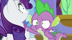 Size: 1920x1080 | Tagged: safe, screencap, rarity, spike, dragon, pony, unicorn, dragon dropped, spoiler:s09e19, scared, winged spike