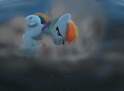 Size: 3000x2200 | Tagged: safe, artist:mricantdraw, rainbow dash, cloud, crying, solo