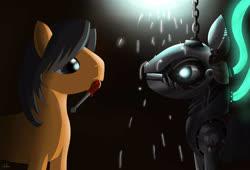 Size: 2200x1500 | Tagged: safe, artist:mricantdraw, oc, oc only, oc:klick klack, pony, robot, robot pony, mouth hold, screwdriver, solo, sparks