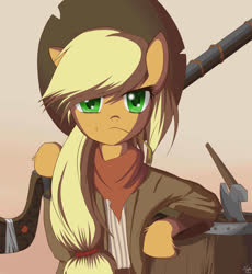 Size: 1700x1850 | Tagged: safe, artist:mricantdraw, applejack, semi-anthro, axe, clothes, gun, hat, rifle, solo, weapon, wild west