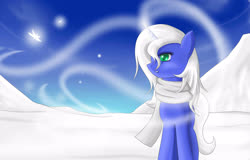 Size: 2500x1600 | Tagged: safe, artist:mricantdraw, oc, oc only, clothes, scarf, snow, solo, winter