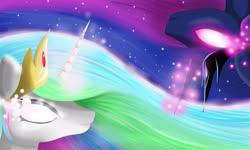 Size: 3300x1980 | Tagged: safe, artist:mricantdraw, princess celestia, princess luna, white eyes