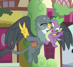 Size: 713x652 | Tagged: safe, screencap, gabby, spike, dragon, dragon dropped, spoiler:s09e19, cropped, eyes closed, flying, peace sign, smiling, winged spike