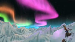 Size: 4300x2419 | Tagged: safe, artist:mricantdraw, oc, oc only, aurora borealis, climbing, expedition, mountain, mountain climbing
