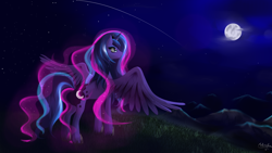 Size: 4000x2250 | Tagged: safe, artist:mricantdraw, princess luna, alicorn, pony, female, mare, moon, night, scenery, shooting star, solo