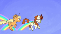 Size: 1280x720   Tagged: safe, artist:malphym, applejack, autumn blaze, earth pony, kirin, pony, sounds of silence, a kirin tale, cloven hooves, colored hooves, cowboy hat, duo, female, hat, looking back, mare, rainbow, scene interpretation