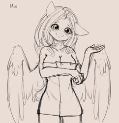 Size: 3424x3530   Tagged: safe, artist:miokomata, oc, oc only, oc:mio, pegasus, anthro, boob freckles, breasts, chest freckles, female, floppy ears, freckles, freckleshy, head tilt, looking at you, monochrome, naked towel, pink background, shoulder freckles, signature, simple background, sketch, solo, towel