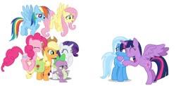 Size: 1024x500 | Tagged: safe, artist:diana173076, applejack, fluttershy, pinkie pie, rainbow dash, rarity, spike, trixie, twilight sparkle, alicorn, dragon, bag, hug, mane seven, mane six, saddle bag, simple background, twilight sparkle (alicorn), white background, winged spike
