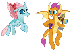 Size: 3269x2319   Tagged: safe, artist:sketchmcreations, ocellus, smolder, changedling, changeling, dragon, the last problem, adult, all is well, dragoness, duo, female, flying, food, insect wings, looking at each other, mug, notepad, older, older ocellus, older smolder, sextant, simple background, smiling, spread wings, tea, transparent background, vector, wings