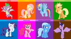 Size: 1024x559 | Tagged: safe, alternate version, artist:diana173076, applejack, fluttershy, pinkie pie, rainbow dash, rarity, spike, trixie, twilight sparkle, alicorn, dragon, mane seven, mane six, meme, twilight sparkle (alicorn), winged spike