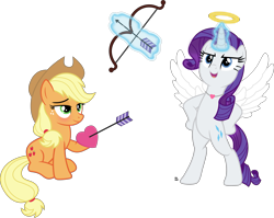 Size: 3623x2889 | Tagged: safe, artist:anime-equestria, applejack, rarity, earth pony, unicorn, angel, arrow, blushing, bow (weapon), bow and arrow, confident, duo, female, halo, heart, holiday, jewelry, lesbian, levitation, love, magic, necklace, rarijack, shipping, simple background, sitting, standing, standing up, telekinesis, transparent background, valentine's day, vector, weapon