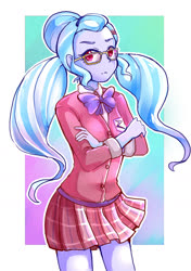 Size: 1000x1420 | Tagged: safe, artist:hobilo, sugarcoat, equestria girls, clothes, crossed arms, crystal prep academy uniform, glasses, looking at you, miniskirt, pigtails, plaid skirt, pleated skirt, school uniform, skirt, solo, twintails, unamused