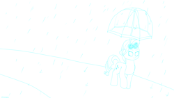 Size: 1920x1080 | Tagged: safe, artist:astralr, rarity, pony, unicorn, levitation, lineart, magic, rain, solo, telekinesis, umbrella