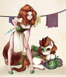 Size: 3201x3737 | Tagged: safe, artist:the-park, autumn blaze, human, kirin, pony, autumn blaze's puppet, beautiful, cheongsam, clothes, cute, female, flower, foal's breath, human kirindox, human ponidox, humanized, legs, self ponidox, sexy, shoes, side knot underwear, side slit, simple background, solo, standing, underwear